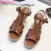 Knsvvli Newest Black Leather Platform Sandal Shoes Summer Women T strap Thick bottom Wedge high heels Shoes Sandalias Mujer