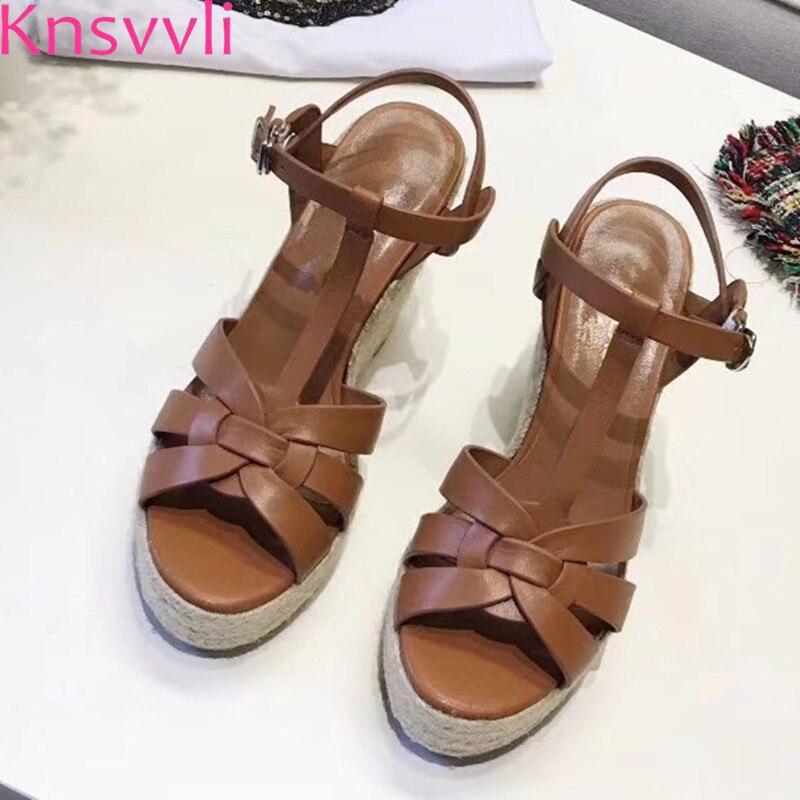 Knsvvli más nuevo de cuero negro plataforma Sandalias verano mujeres T Correa cuña inferior grueso zapatos de tacones altos Sandalias Mujer-in Sandalias de mujer from zapatos    1