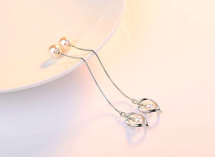 100 925 sterling silver fashion imitation pearl flower ladies long drop earrings female jewelry women drop shipping wholesale in Drop Earrings from Jewelry Accessories