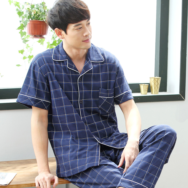 Cardigan Men's Pajamas Set Summer Cotton Short Sleeve Trousers Set Korean Version of Loose Summer Home Service Men Sleepwear(China)