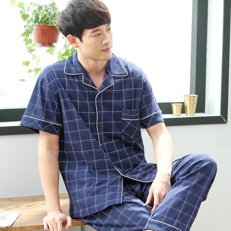 Cardigan Men's Pajamas Set Summer Cotton Short Sleeve Trousers Set Korean Version Of Loose Summer Home Service Men Sleepwear