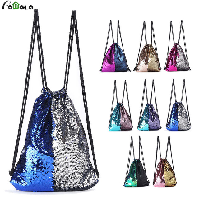 Mermaid Sequin Backpack Glittering Shoulder Bling Bags Reversible Glitter  Drawstring Backpacks Women Beach Bags