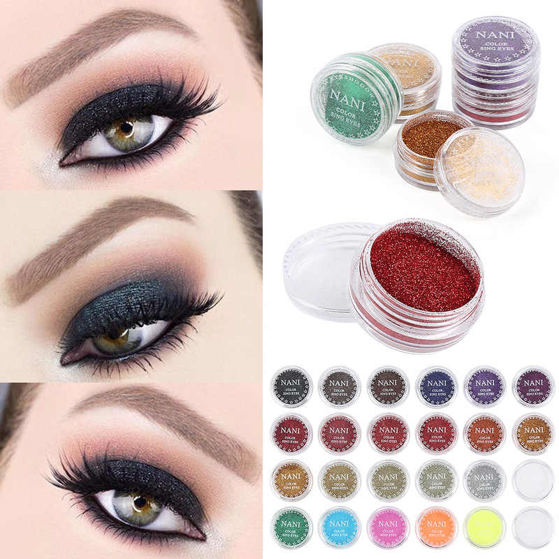 Dropship 1pc Glitter Shimmer Eyeshadow Makeup Powder 24 Single Color Pigment Easywear Waterproof Eye Shimmer Shadow Powder TSLM1