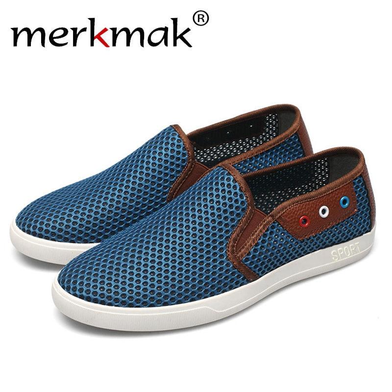 Merkmak Men Summer Beach Breathable Shoes 2017 Casual Slipper Shoes Hemp Flats Comfortable Softs Slip on