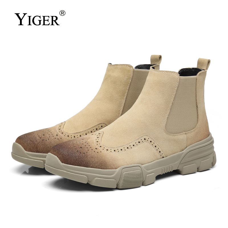 YIGER New Men Chelsea Boots Cow suede Male Ankle Boots Slip-on Casual Man Shoes Winter Warm fur Men Big Size Martin Boots 0171 цены