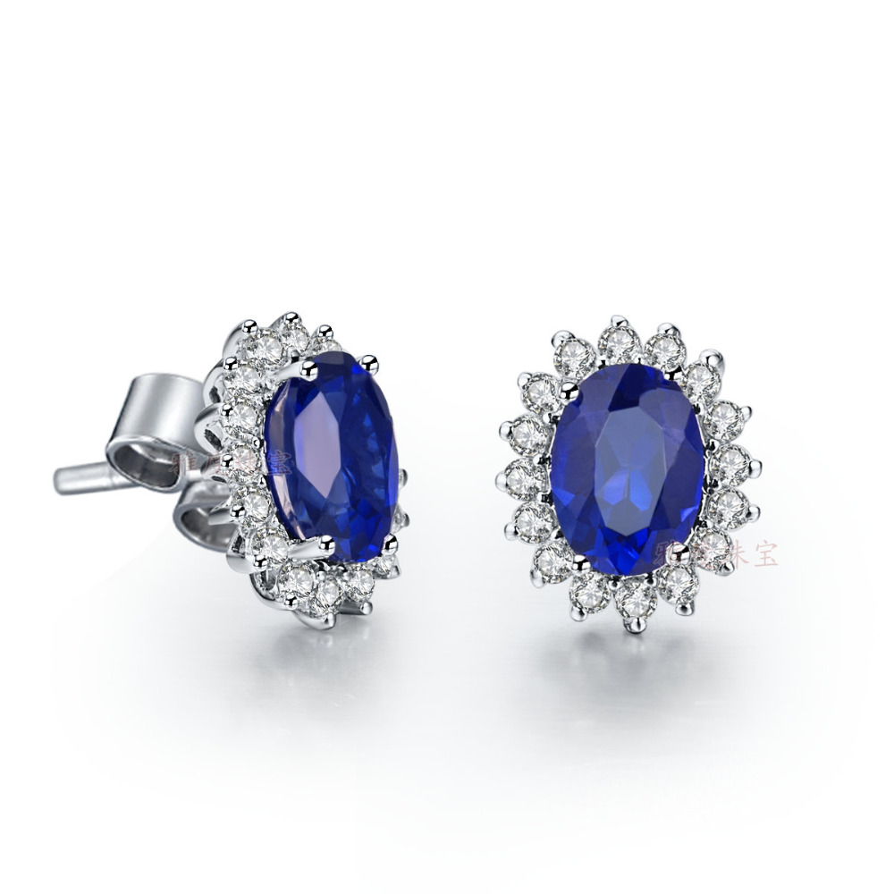 unisex earrings bling cz color bezel sapphire silver mens birthstone sterling stud jewelry september