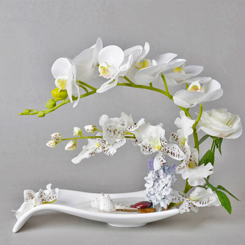 Simulation European table artificial flower dried floral art high simulation Phalaenopsis small desktop potted Home Decoration