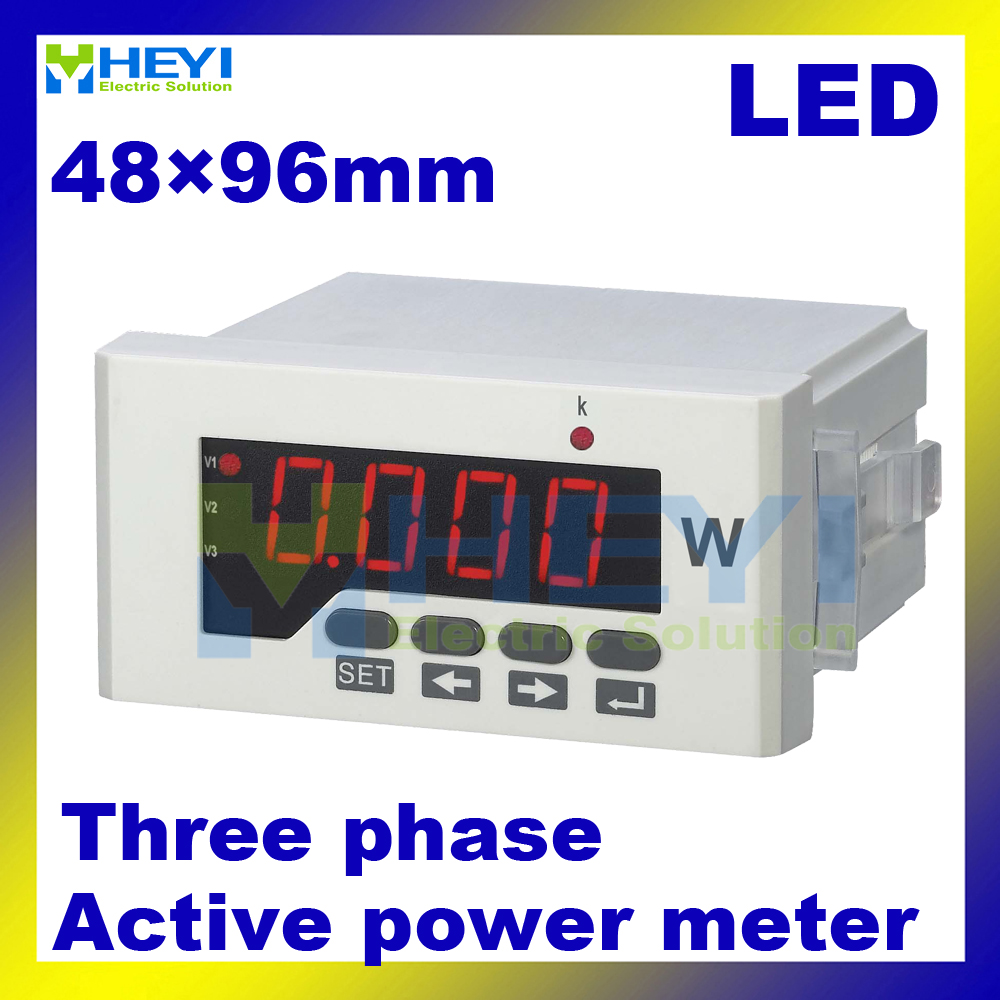 3 phase LED digital Active power meter 48*96 mm Class 0.5 three phase digital panel meter single phase digital active power meter led power meter digital panel meter wattless power meter