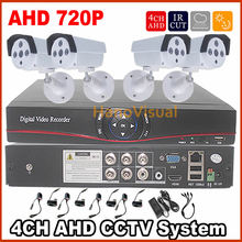 4 Channel AHD CCTV System 4Pcs AHD CCTV Camera Waterproof Outdoor Color Image+4 Channel AHD CCTV DVR Video Recorder 4CH AHD Kit