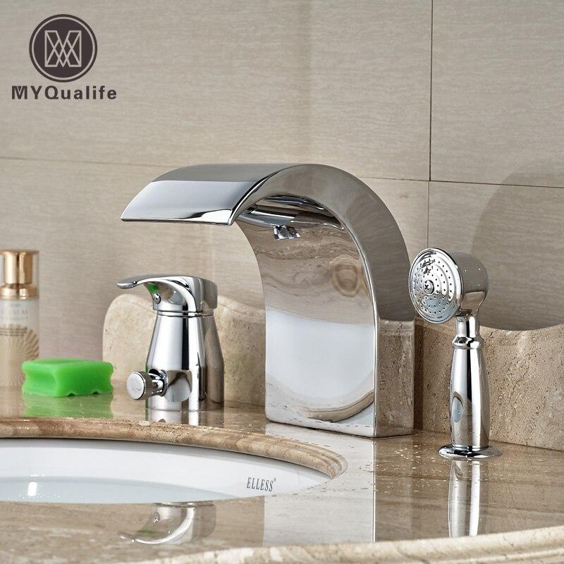 Bright Chrome 3pcs Big Waterfall Spout Bathtub Mixer Faucet Single Handle with Handshower niko 50pcs chrome single coil pickup screws