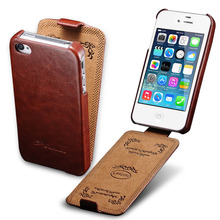 Vintage Case For iPhone 4 4S Luxury PU Leather Flip Elegant Vertical Flip Phone Cover Coque