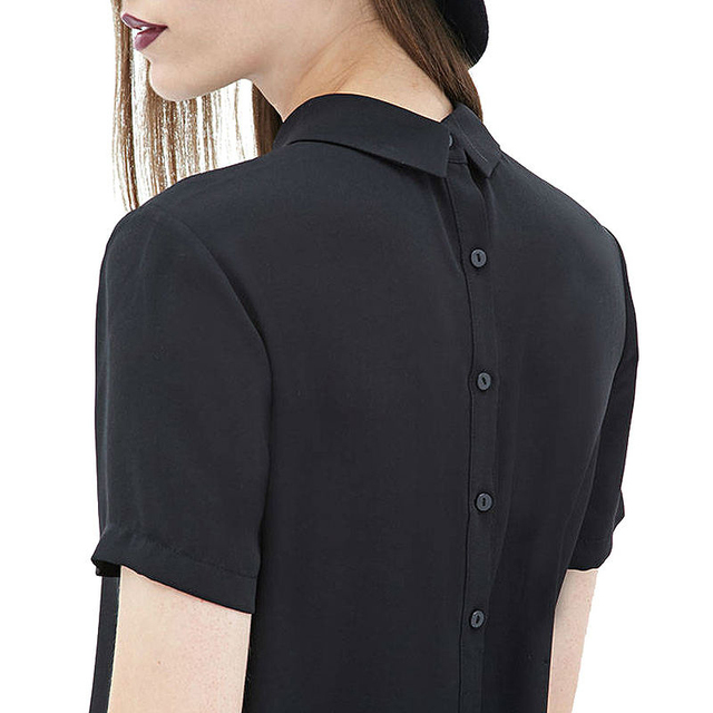 9d3dc12443537 MISS MOLY Women s Black Point Collar Casual T-Shirts Ruffled Chest Button  Decor Long Sleeve