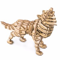 3D Puzzle DIY Handmade Plywood Animal Model Home Car Decoration 63pcs Proud And Cool Wolf For
