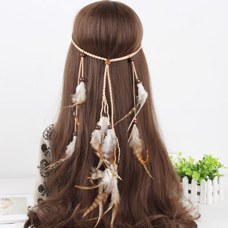 Indian Accessories Feather Hair Clip Pure Manual Wedding Hair accessories Hair Bands Indian Gypsy Folk Style HW0002