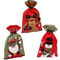 Święty Mikołaj Snowman Reindeer Prezent Torba Sznurek Słodycze Torba Plecak Xmas Santa Sack Rustykalne Rocznika Torba Dekoracji Ornament