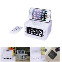 FM Radio Alarm Clock Portable Charger Dock Station Audio Music Wireless Bluetooth Speaker For IPhone Android