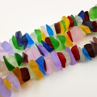 Stock Sale Natural Mutil Color Crystal Glass Sea Glass Freeform Nugget Shape About 16 20mm 38cm