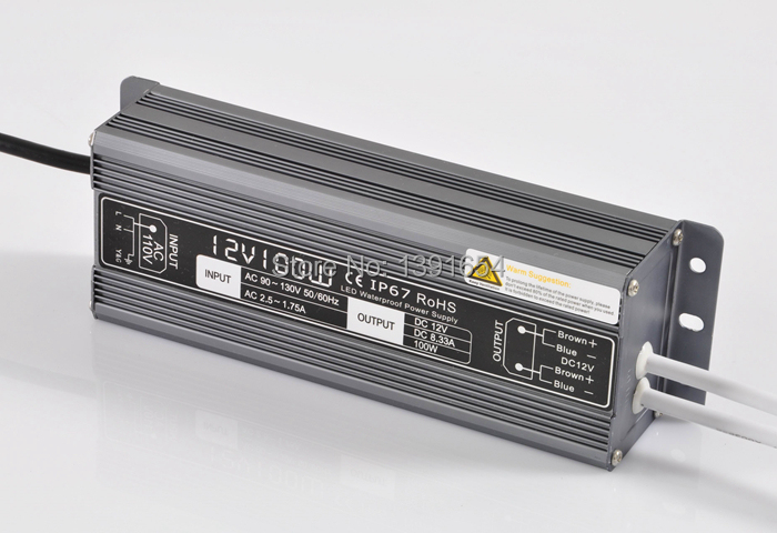 IP67 DC12V 8.3A 100W Aluminium Waterproof Power Supply ,LED Driver , LED Light Transformer Free Shipping  free shipping 5pcs lot 150w hot selling ac90 250v to dc12v or dc24v transformer ip67 waterproof led driver power supply
