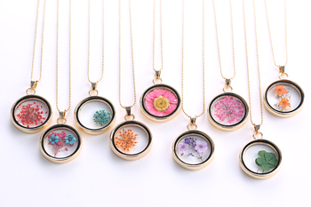 Glass Charms Pendant Necklace Dried Flower Real Dry Flower Round Locket Necklace Gold Chain Necklace for Women Jewelry Fashion chic dry flower necklace for women
