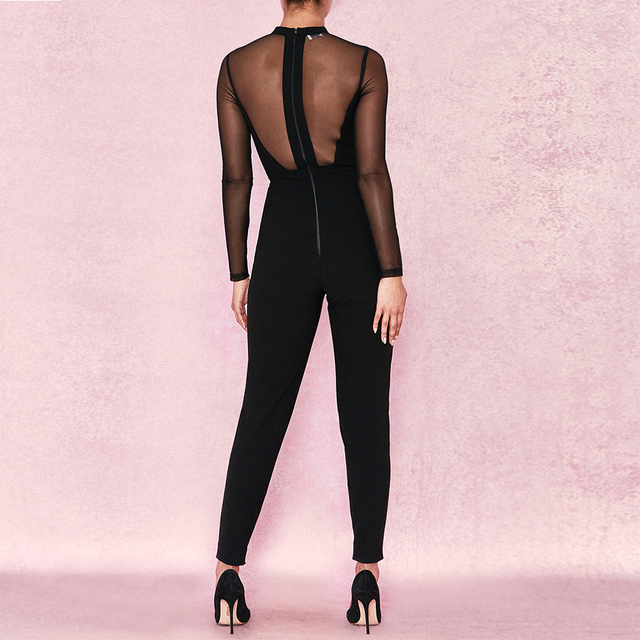 Celebrity Party Bandage Jumpsuit Women Black Long Sleeve O-Neck Mesh Sexy Night Out Bodycon Bodysuit 1