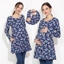 Nowa bawełniana wiosna długie ubrania ciążowe bluzka do karmienia piersią koszulki do karmienia piersią dla kobiet w ciąży T-shirt macierzyński