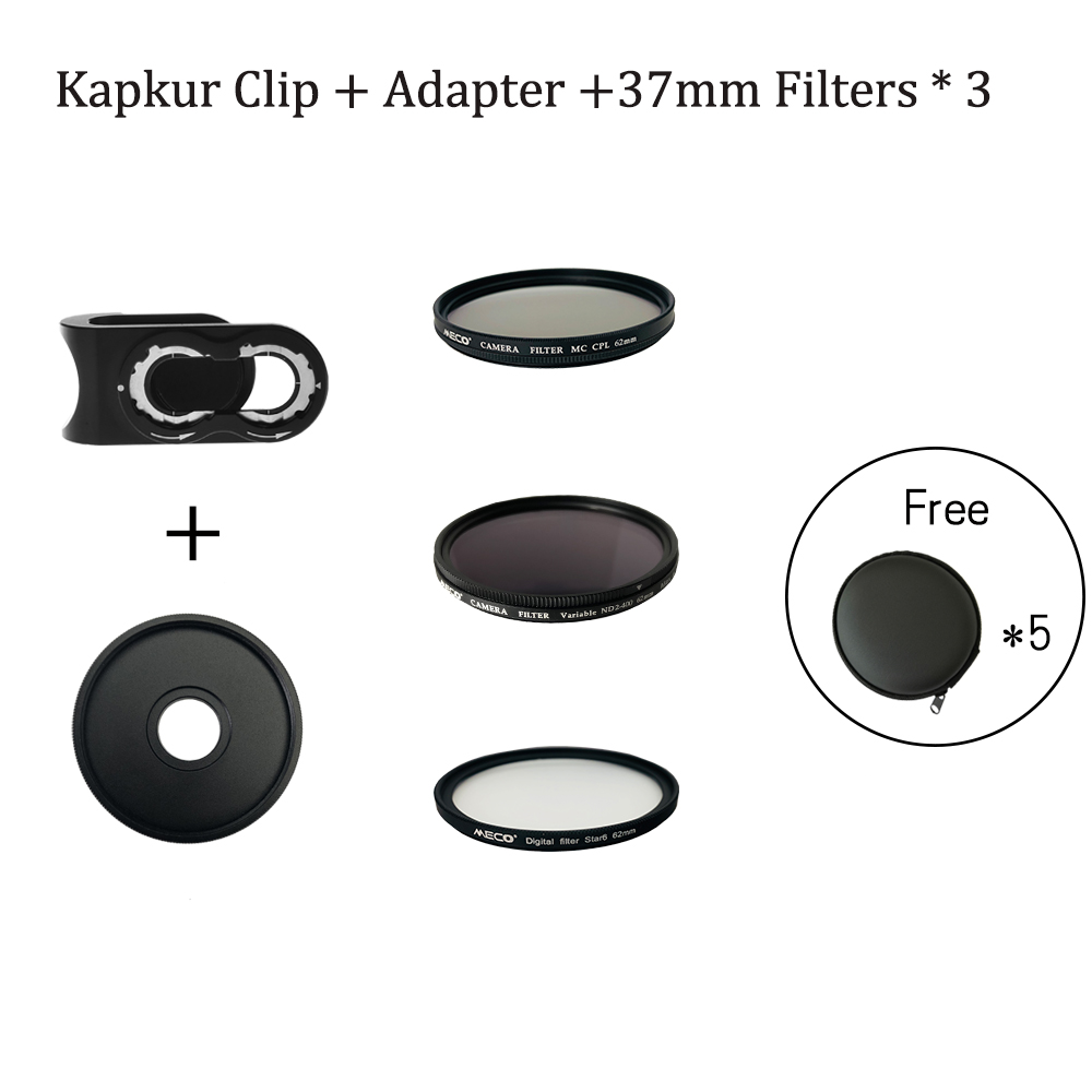 Kapkur Accessory kit , clip with adapter and CPL , NDX and Star Filters