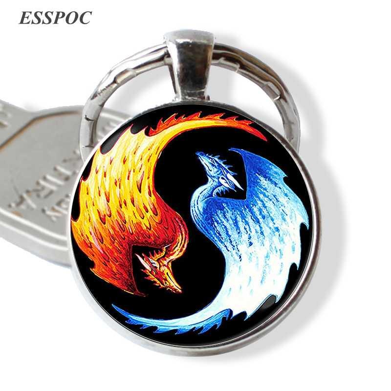 จีนลัทธิเต๋าเข้าสู่ระบบ Key Chain Vintage Tai Ji Yin Yang พวงกุญแจ Yin Yang จี้เครื่องประดับอุปกรณ์เสริม