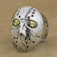 Black Olive Eyes 925 Sterling Silver Halloween Jason Mask Mens Biker Ring 9D104 US Size 7