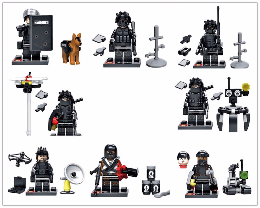 City police Swat team Commando Army soldiers with Weapon Gun Building Blocks  Military Toy military city police swat team army soldiers with weapons ww2 building blocks toys for children gift