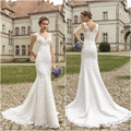 925 Charming Style 2017 Mermaid V neck High Quality Lace Long train beautiful wedding gown dress
