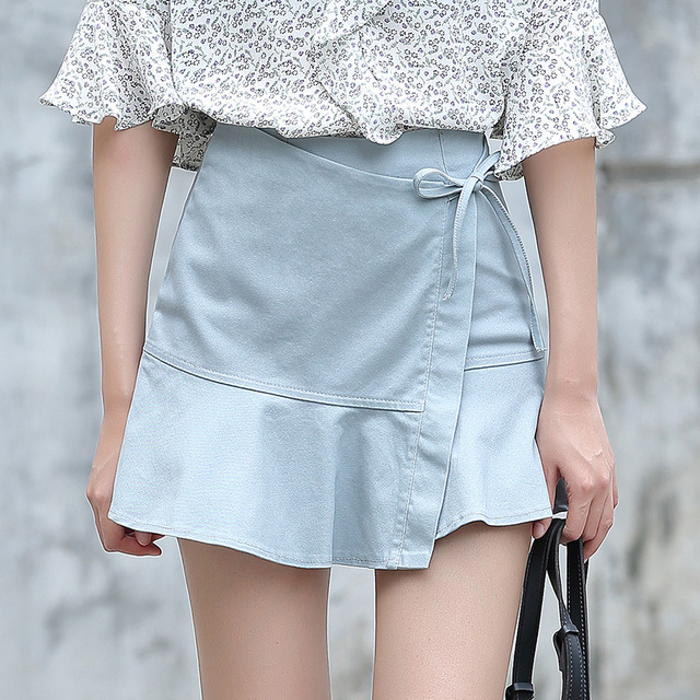 b392911851e Yichaoyiliang Summer Sweet Kawaii Girls Ruffles Skirt Asymmetric A-line  Skirt Bowknot Lace-up Japanese Style Uniform Mini Skirt