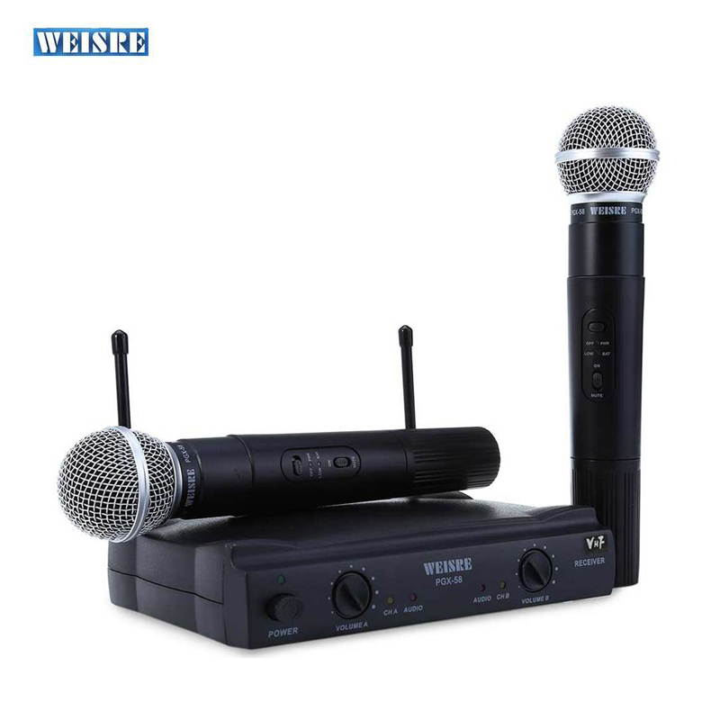 цена на WEISRE PGX58 Professional VHF Karaoke Wireless Microphone System With Receiver Dual Handheld Microphone Mic For Family KTV Party