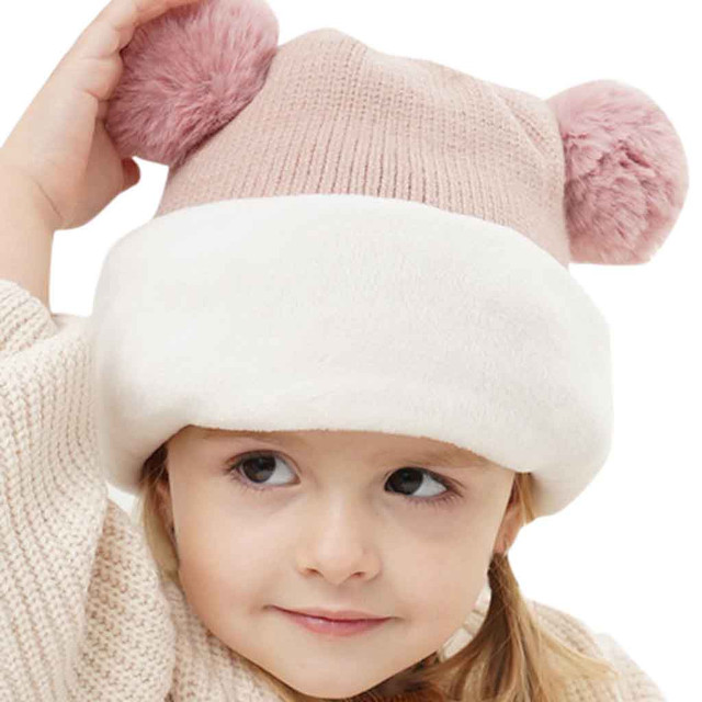 Kids Winter Hats Ears Girls Boys Children Warm Caps Scarf Set Baby Bonnet Enfant Knitted Cute Hat for Girl Boy 1D18 1