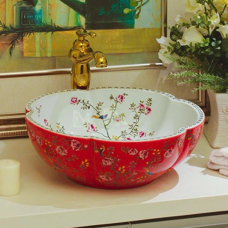 Europe Wash Basin Sink Ceramic Basin Sink Jingdezhen Washing Basin Counter Top Bathroom Ceramic Sinks Patterned Ceramic Sink Ceramic Sink Bathroom Ceramic Sinksceramic Basin Sink Aliexpress