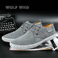 Wilk, który 2019 nowych mężczyzna ręcznie wysokiej jakości buty w stylu casual prawdziwa skóra dla mężczyzn buty wygodne czarne trampki buty meskie X-202