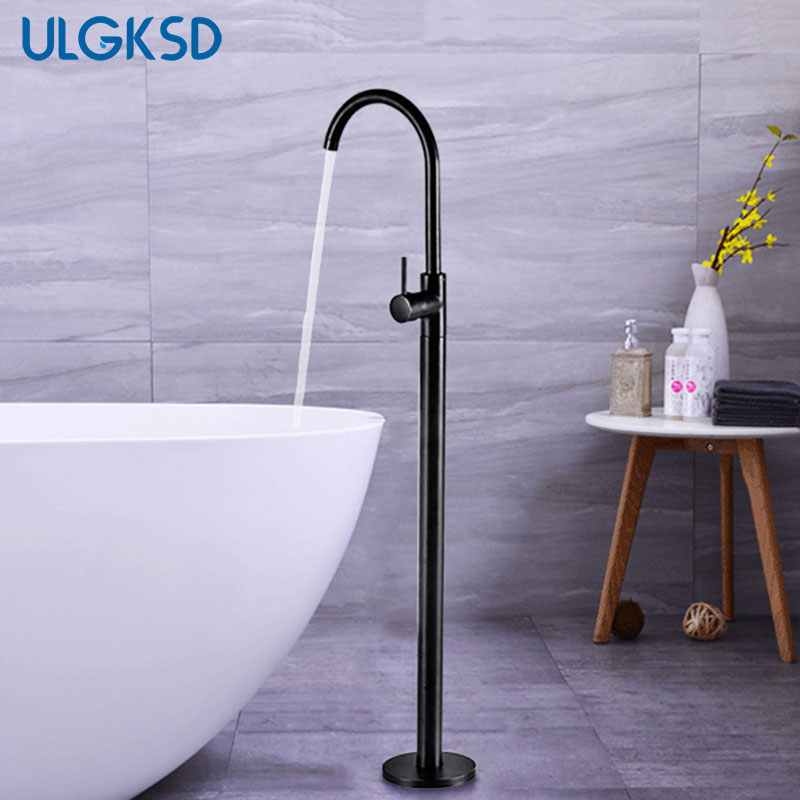 ULGKSD Black Brass Bathtub Tub Faucet Tub Filler Single Handle Free Stand Floor Tub Faucet Hot And Cold Water Mixer Tap