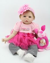 22″ Reborn Baby Silicone Doll Stuffed Toy Realistic Newborn Girl Alive Interactive Toys for Kids Playhouse Game