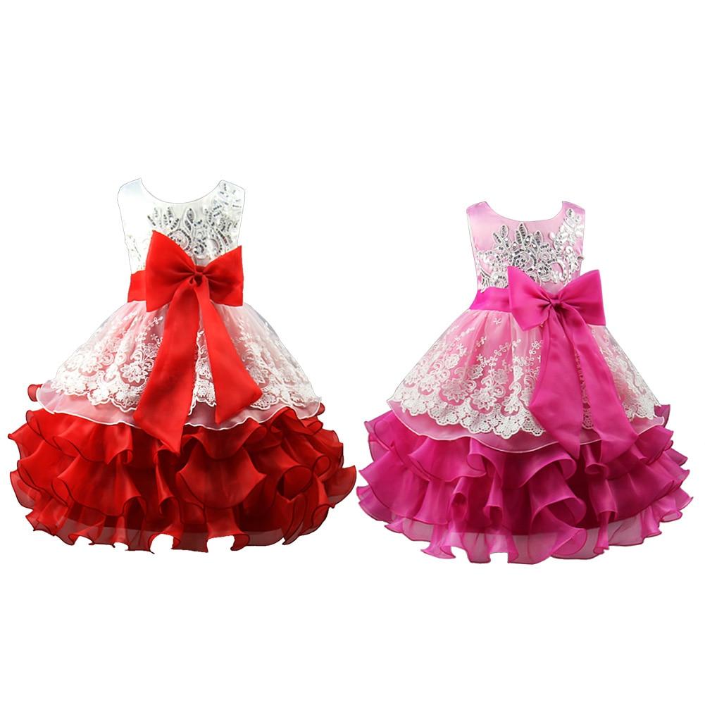 2017 New Arrival Summer Baby Girls Sequin Formal Evening Gown Flower Wedding Princess Dress Girls Party Dress For 3-8Y new flower girls dress diamond sequin
