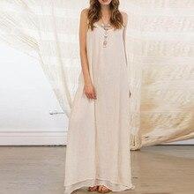 ZANZEA Plus Size Women Summer Dress Spaghetti Strap Backless Long Maxi Dresses Casual Cotton Linen Solid Party Beach Vestido