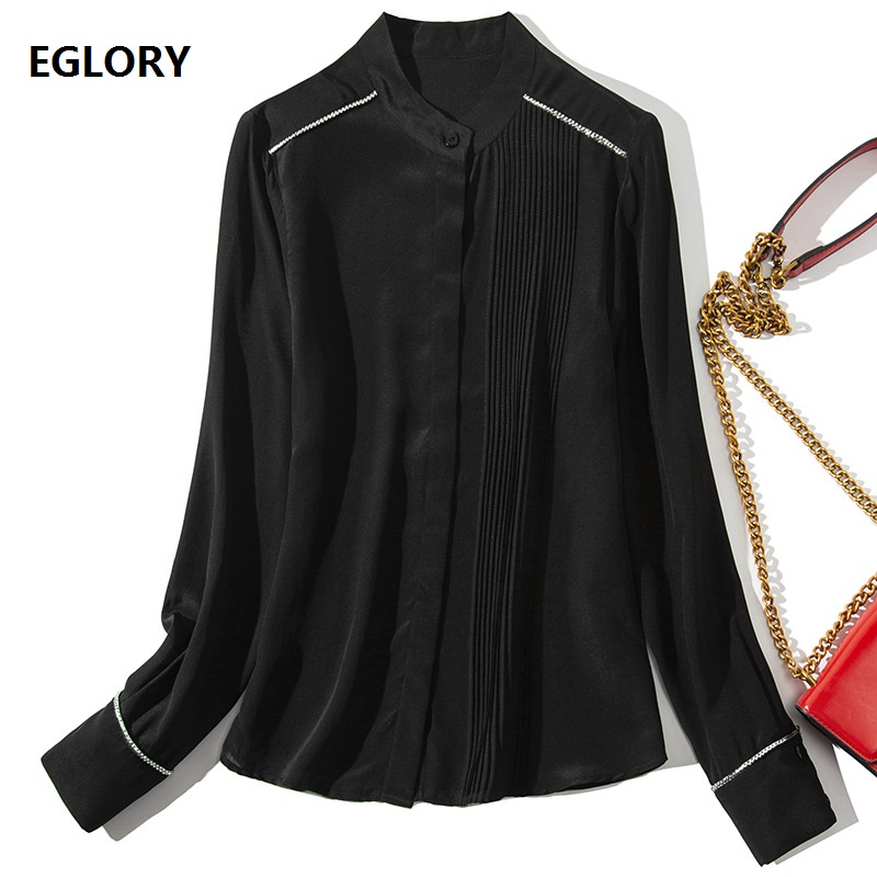 Tops Fashion New Brand Blouse Shirt 2019 Spring Summer Silk Blouses Women Lurex Silver Color Block Long Sleeve Shirt Black White