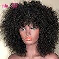 Афро кудрявый вьющиеся парик 13x6 глубокий часть Синтетические волосы на кружеве человеческих волос парики с челкой для черных Для женщин мо...