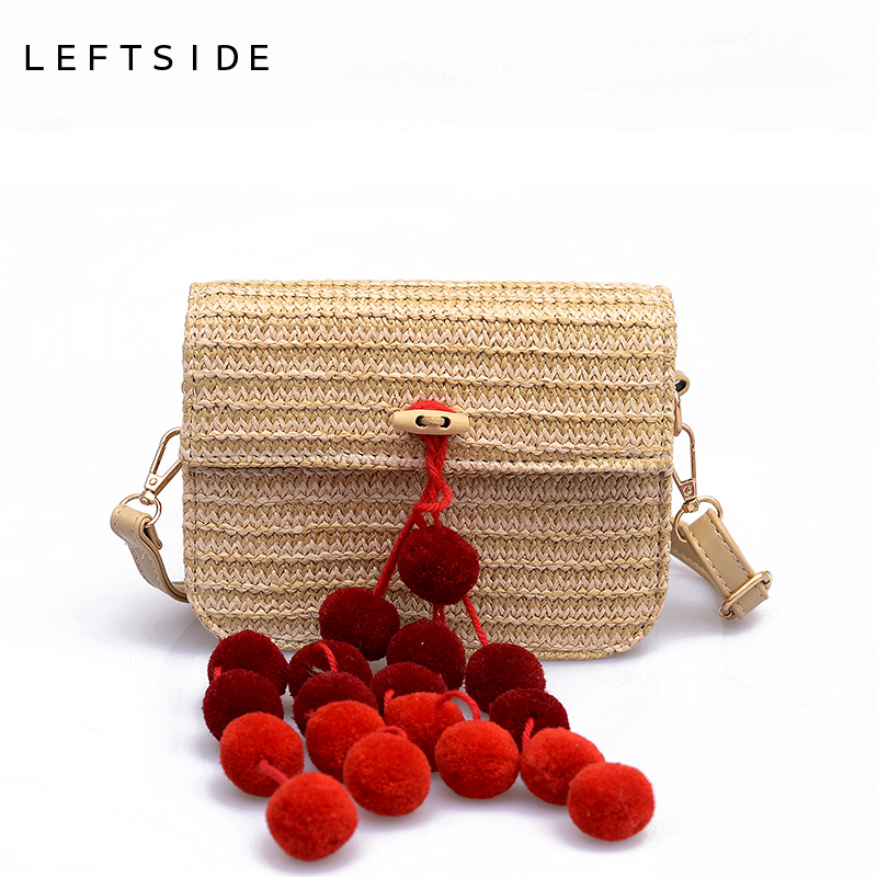 LEFTSIDE Summer Beach bag 2018 Small Women Crossbody Bags Straw Bag with Hairball Female Shoulder Bags Popular Mini Handbags New