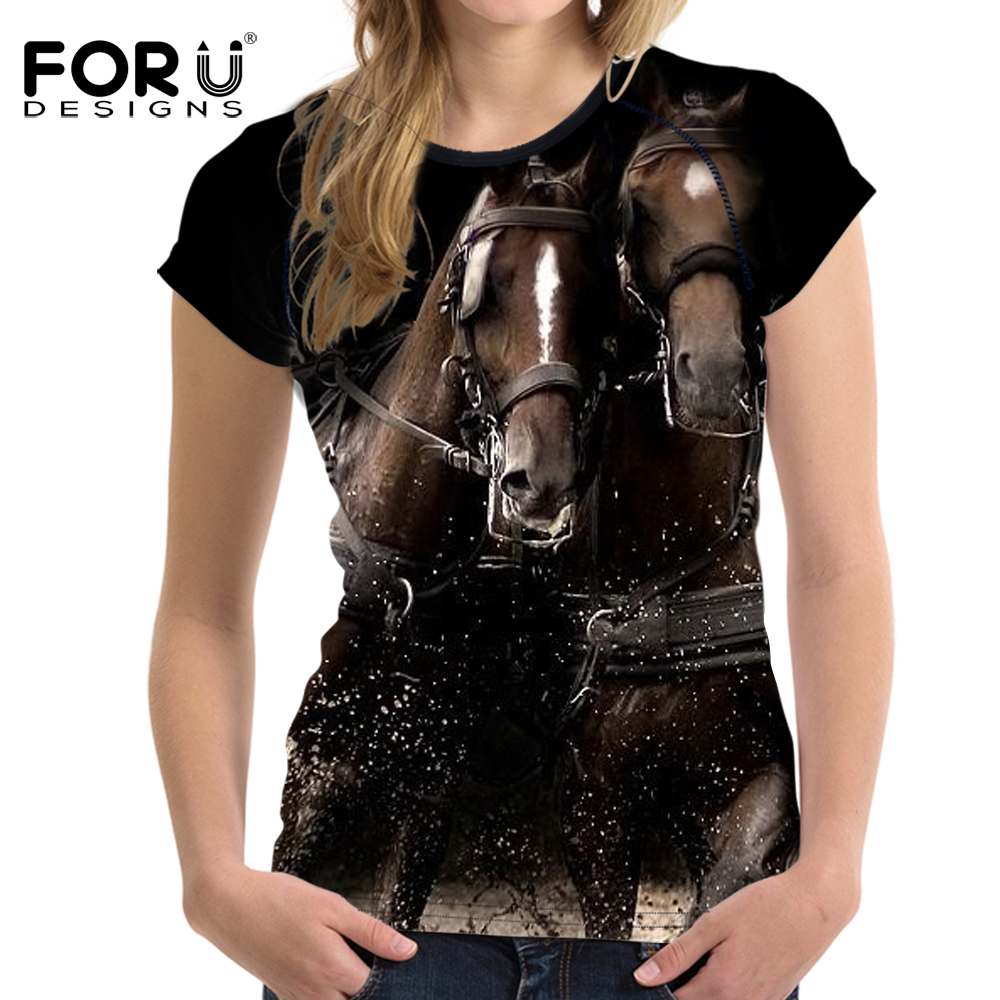 FORUDESIGNS Crazy Horse Donna T Shirt Tee Shirt Femme 3D Animale Comodità a maniche corte Donna Camicie Casual Ropa Mujer Plus Size