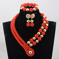 Christmas Gift Orange Coral Beads Gold Plated Jewelry sets African Wedding Bridal Beads Necklace Jewelry Set Free Shipping CJ857