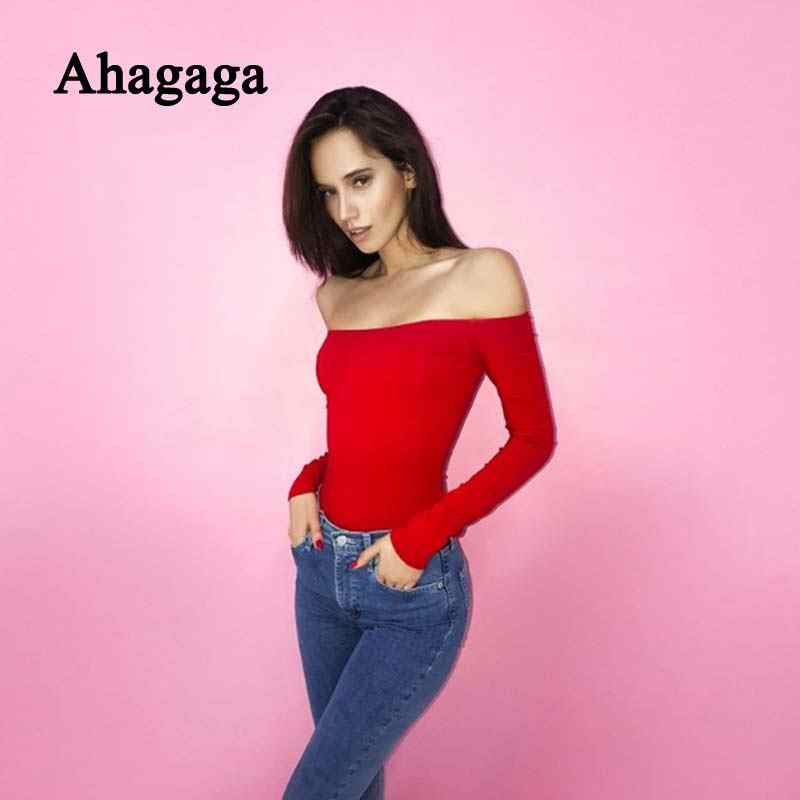 Ahagaga 2018 осенне-зимние комбинезоны, женские костюмы, Модный Обычный длинный рукав, повседневное сексуальное обтягивающее Женское боди с вырезом лодочкой