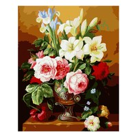 Hot Selling Frameless Picture Home Decor Noble Flower Painting By Numbers Handwork Draw On Canvas Wall