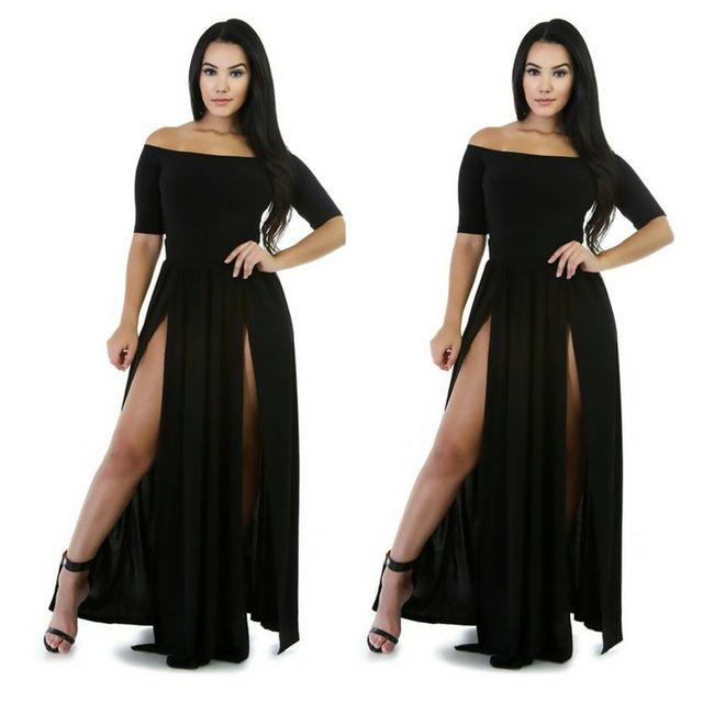 9ceb905150c Womens 2017 Summer Sexy Black Slim Plus Size Maxi Dress Thigh High Split  Sleeveless Party Long Dresses for wholesale