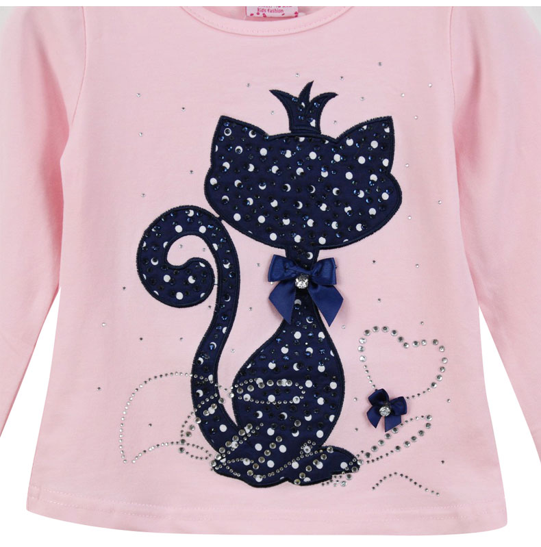 HTB1TAV PVXXXXcBXVXXq6xXFXXXB - Girl's Stylish Cute Branded Print Rhinestone Cat with Bow, Long Sleeve T-Shirt