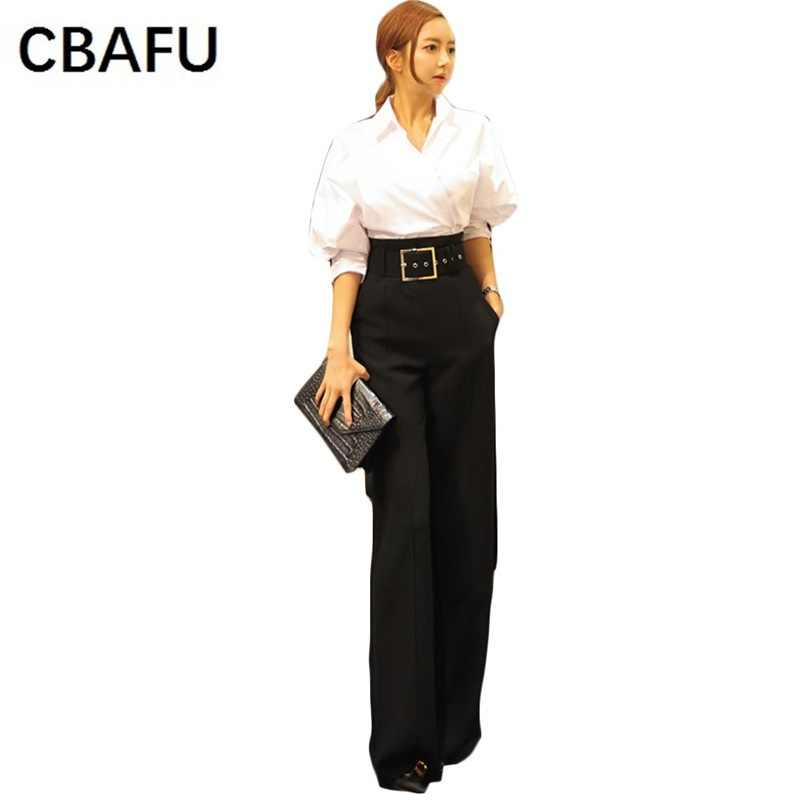 4ea3cc557d Detail Feedback Questions about CBAFU 2019 Spring Women Suits batwing  sleeve shirts white blouse tops trousers wide leg pants suit ladies two  piece set X531 ...