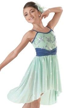 Blue Purple Embroidered Sequins Ballet Dress For Children Dance Clothing Leotard Stage Dancewear Kids Ballet Costumes For Girls